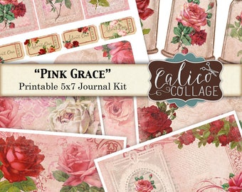Rosa, Gnade, Vintage Rosen, bedruckbare Journal, Junk Journal Kit, Journal Seiten, Papier, Vintage Blumen, bedruckbare Eintagsfliegen