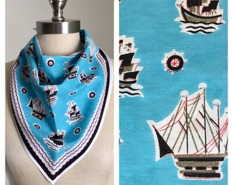 70s Turquoise Tall Ship Print Triangle Scarf, Head Scarf