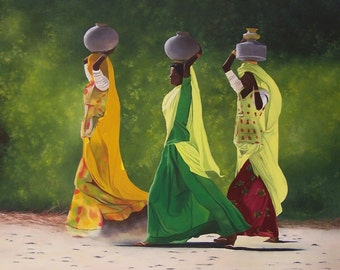 SOLD. Indian. Indian women, stage of life, green, orange, yellow, colorful dress printed floral, trees, modern