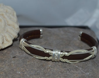 "Leather with sterling silver Cuff Bracelet ""DEAL INSIDE"""