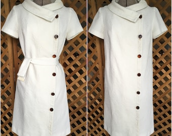 Vintage Womens 1960s White Coat Style A-line Button Down Dress by The Phyllis Look Retro Mod AS-IS