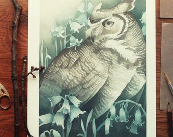 Bluebell Watercolour Illustration Print
