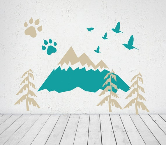 Mountains Wall Decal ADVENTURE Baby Room Decal Woodland Trees Birds for kids toddlers decor Nursery Decoration Self Adhesive #mountains027