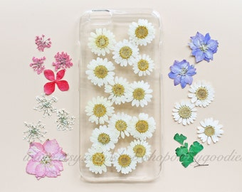 iPhone 5 Case Floral, iPhone 5s Case Clear, Pressed Flower iPhone 7 Case, Handmade iPhone SE Case,White iPhone 5c Case, iPhone 6s Case Daisy