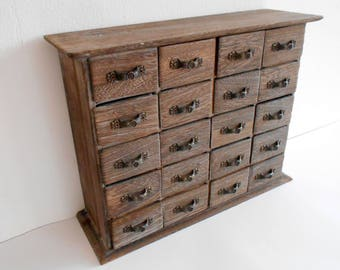 Wooden drawers box- 20 drawers- Jewelry Chest of drawers- Apothecary Cabinet- Desktop Organizer - Trinket Storage- Cabinet box- trinket keep