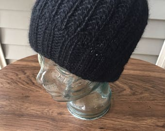 Fair trade black wool knit winter beanie