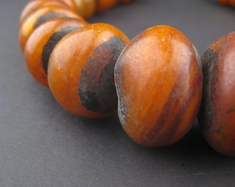24 Moroccan Honey Amber Resin Beads Graduated - African Resin Beads - Jewelry Making Supplies - Made in Morocco ** (AMB-RND-ORG-107)