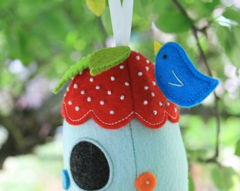 Bird house : pin cushion PDF, house sewing pdf, pincushion pattern, bird house pattern,  DIY pincushion, pincushion PDF,  plush pdf pattern