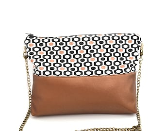 """Graphic """"seventies"""" Pearl copper leatherette pouch"""