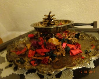 tarnished silver serving tray