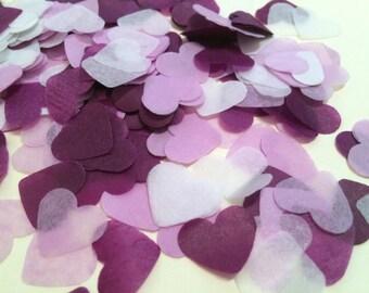 Purple, lilac and white heart wedding confetti - biodegradable