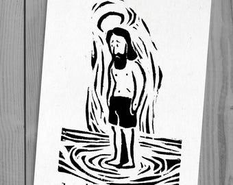 Summer J   linocut print