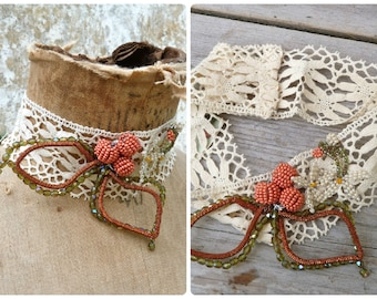 ORANGE BLOSSOMS Ecru cotton lace necklace CHOCKER adorned with beaded oranges /orange blossoms & leaves