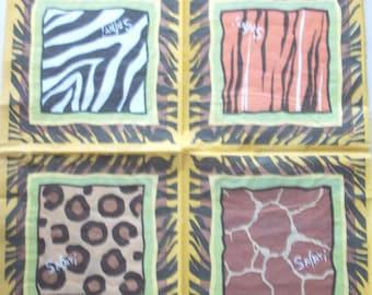 x 20 - patterns SAFARI wildlife art TEXTURED paper napkins  3420