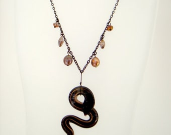 Copper Pearl Serpent Necklace statement black snake pendant with pearl and bead charms on chain bohemian goth