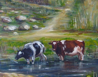 Cows In The River - Original Acrylic Painting, Size 30 cm x 40 cm