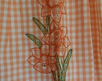 On Sale, KITCHEN APRON, Orange & White, Gingham Check, Embroidered Jonquils, Half-Apron w/Pocket, New/Unworn, Vintage Apron, HANDMADE