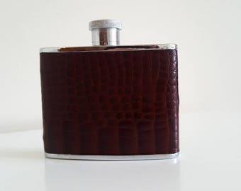 Vintage English Leather Bound Hip Flask 1950-60s Gentlemen's Pocket Whiskey Flask