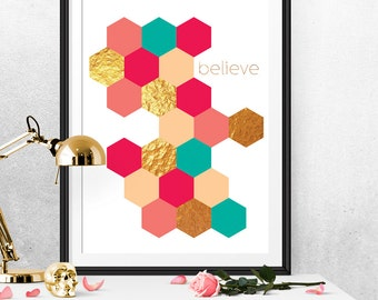 Hexagons print, Hexagon art, Fucsia and gold print, Fucsia and teal art, Teal and green print, Geometric wall art, Geometric print, Believe