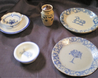 Blue and White Assortment of 6 Pieces*Small Plates*Bowls*Jug*Great Beginning Collector Set*