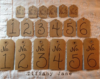 Numbered Paper Tags 1-6 ---- 3 sizes 18 all together--For Art--Home--Decor--Tags For Drawers--Tags For Bins Baskets