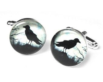 Black Raven Cufflinks, Crow Cufflinks, Edgar Allan Poe, Cufflinks, Gift for Him, Black Crow, Resin Cufflinks, Handmade Cufflinks, Handmade