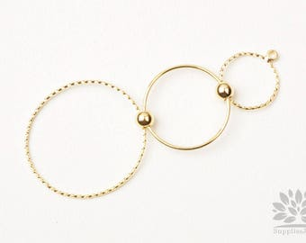 A363-G// Gold Plated Triple Circle Link Connector Pendant, 2pcs