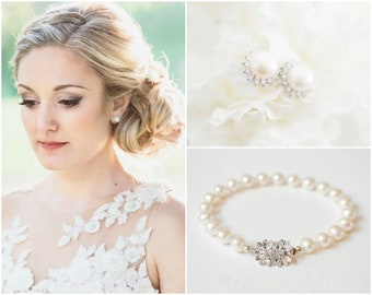 Bridal Jewelry Set Pearl, Wedding Jewelry for Brides, Pearl Bridal Earrings and Bracelet Set
