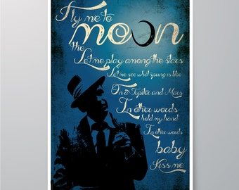 Frank Sinatra - Fly me to the Moon, DOWNLOAD Printable, Art for home, Wall decor, Print, Poster, Home decor