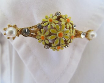 Daisies Brooch, Yellow orange vintage gold pearl rhinestone costume jewelry, 1970's, enamel