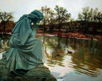 River Watcher - original oil painting