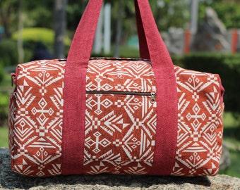Red Geometric Ethno Weekender bag   Overnight bag   Work bag   Hippie Duffle bag  Travel bag   Aztec Weekend Tribal bag   Vegan Tote bag