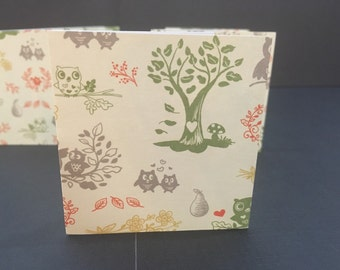 """2.5"""" Square Cards Tags - set of 8 Fall Autumn forest animals"""