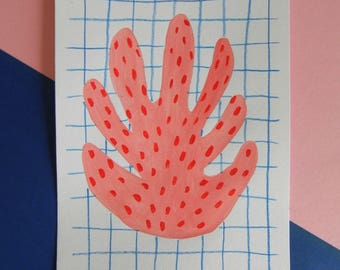 Monstera & dots - Original signed painting - Hand painted illustration size A5