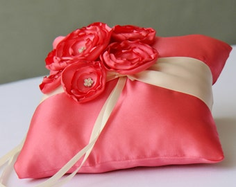 Wedding Coral And Ivory Satin Ring Bearer Pillow More Colors Available