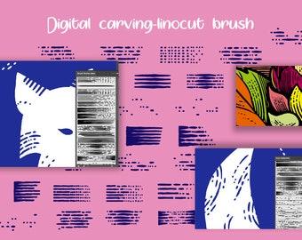 Digital carving linocut Set - Adobe Illustrator carving Brushes