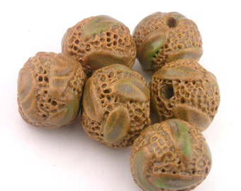 Brown Beads, Leaf Beads, Pottery Beads, Ceramic Beads, Stoneware Beads, Tan Beads, Round Beads, artist beads, textured beads stringing beads