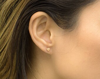 Beveled Gold Heart Earrings, Solid 14k Gold Earrings, Mini Gold Heart Studs, Gold Heart Earrings, Little Gold Heart Earrings,Tiny Studs