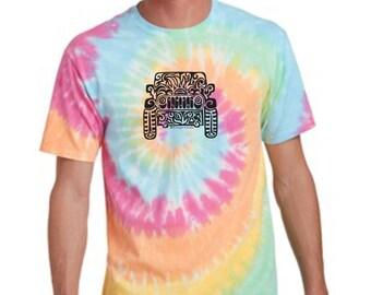 JEEP  Adult Tribal Tattoo Pastel Rainbow Tie-Dye T-Shirt  - (Unisex sizing S-XXL)