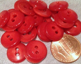 "Lot of 24 Red Shiny Plastic Sew-through Buttons Just Over 1/2"" 13mm # 7532"