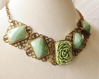 Teal green flower statement necklace. Vintage inspired, Victorian, Gothic, Chunky green necklace, Up-cycled necklace, Re-purposed,Recycled,