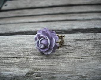 purple white rose flower ring - antique brass