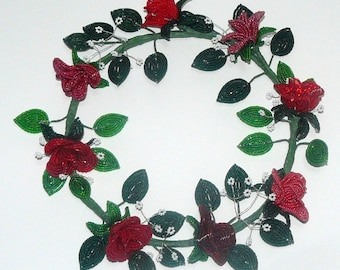 French Beaded Flowers Ring of Red Roses