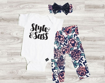 Floral Baby Girl Outfit Set, Trendy Baby Clothes for Girls, Baby Girl Take Home Set, Cute Baby Girl Outfit
