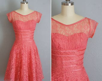 1950s Thinking of You pink lace dress | vintage 50s lace dress | vintage party dress fit and flare xs