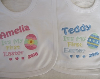 Personalised Baby Bib - Easter 2018 - Embroidered Keepsake - Boys / Girls - Baby's 1st Easter  Gift