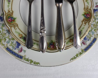Mismatched Plates and Silverware, Wedding Setting, Cottage Chic, Vintage Dinnerware