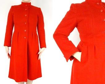 Red Wool Princess Coat, Fit and Flare Coat, High Collar Coat, Womens Pleated Coat Wool, 1960s Princess Coat, Womens Vintage Winter Coat