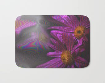 Purple Bath Mat -  Flower Shower Mat - Bathroom Mat -  Made to Order