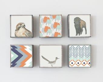 buffalo southwestern nursery art hawk- choose 6 designs- gender neutral baby- southwest childrens wall decor- nursery- redtilestudio